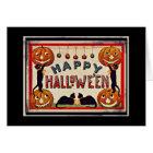Tarjeta Gatos negros de las calabazas del feliz Halloween