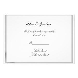 Tarjeta gay azul de la respuesta del boda de las p invitaciones personales