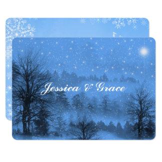 Tarjeta Gay/invitación azul lesbiana del boda del invierno
