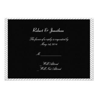 Tarjeta gay pintada de la respuesta del boda de la invitacion personalizada