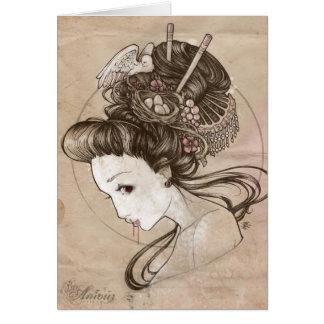 Tarjeta Geisha Notecard del zombi