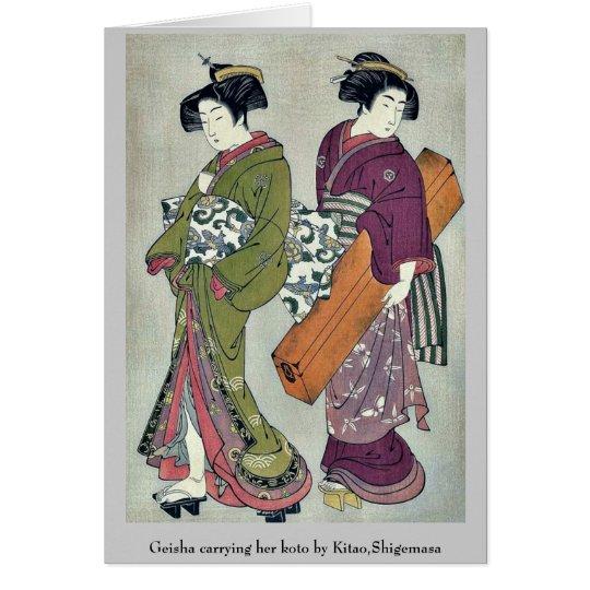 Tarjeta Geisha que lleva su koto por Kitao, Shigemasa