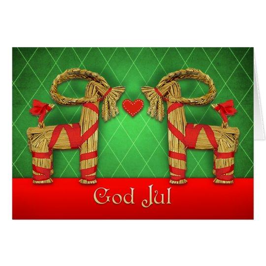 Tarjeta Gemelos de Julbok del sueco con el navidad de