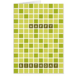 Tarjeta geométrica cuadrada verde del feliz cumple