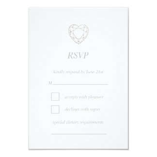 Tarjeta geométrica de plata de RSVP del corazón