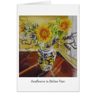 Tarjeta Girasoles en notecard italiano del florero