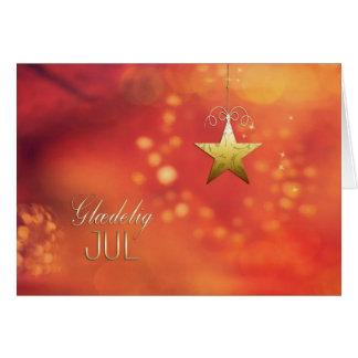 Tarjeta Glædelig julio, Felices Navidad en danés, estrella