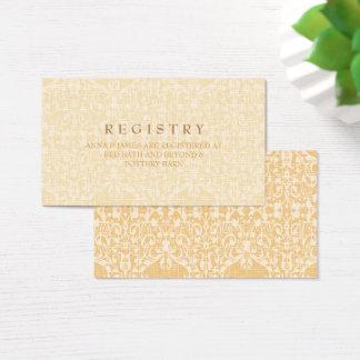 Tarjeta glamorosa del registro del oro y del boda
