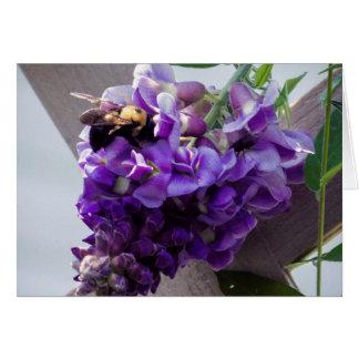 Tarjeta Glicinias y abeja