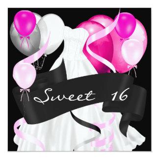 Tarjeta Globos blancos rosados negros del vestido del