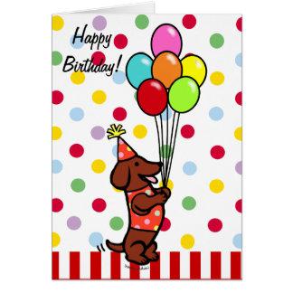 Tarjeta Globos del dibujo animado del cumpleaños del