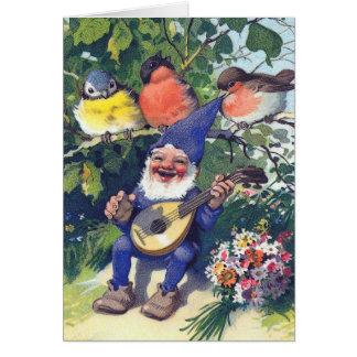 Tarjeta Gnomo feliz con los pájaros