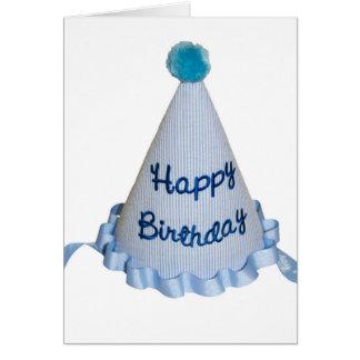 Tarjeta Gorra azul del fiesta del feliz cumpleaños En