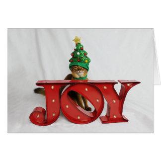 Tarjeta Gorra cuestionable del gato del árbol de navidad
