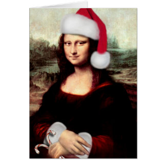 Tarjeta Gorra de Santa del navidad de Mona Lisa