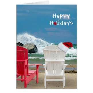 Tarjeta Gorra de Santa en silla de playa