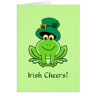 Tarjeta Gorra irlandés divertido del Leprechaun de la rana