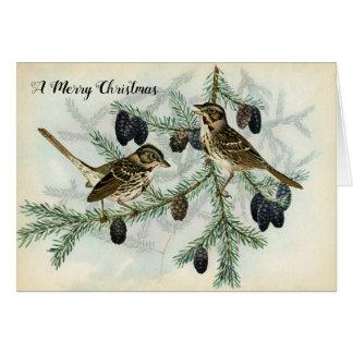 Tarjeta Gorriones del navidad el día de fiesta de las
