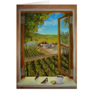 Tarjeta Gorriones en el windowsill