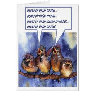 Tarjeta gorriones que le desean un feliz cumpleaños