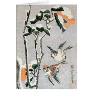 Tarjeta Gorriones y camelia en nieve de Ando Hiroshige