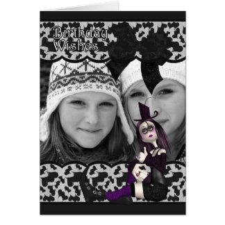 tarjeta gótica de la foto del cumpleaños con la