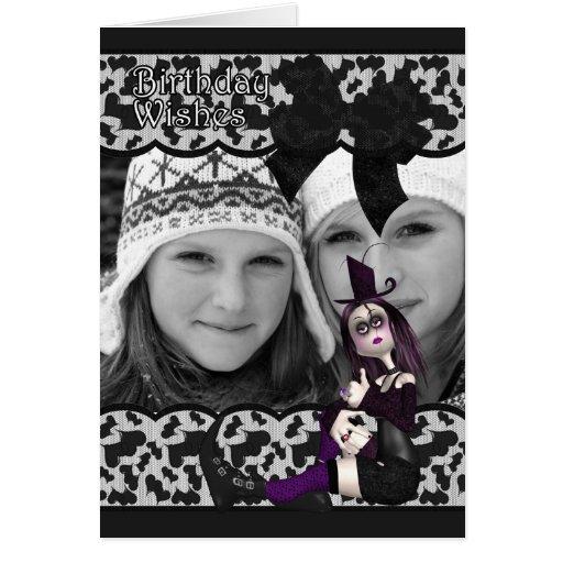 tarjeta gótica de la foto del cumpleaños con la ci