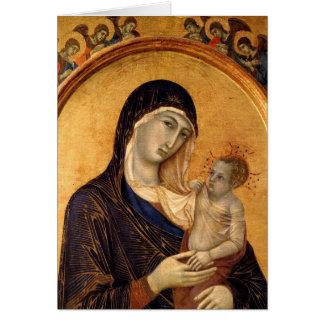 Tarjeta gótica de Madonna y del niño