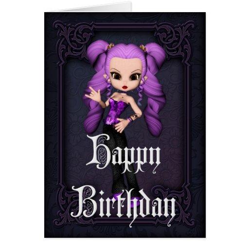 Tarjeta gótica del feliz cumpleaños del diseño 1 d