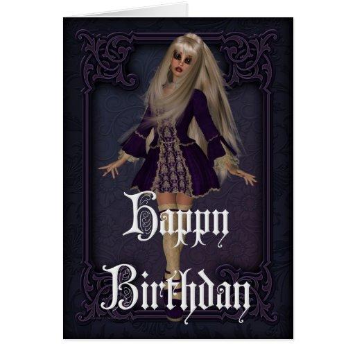 Tarjeta gótica del feliz cumpleaños del diseño 3 d