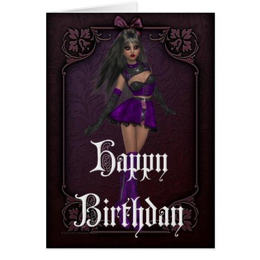 Tarjeta gótica del feliz cumpleaños del diseño 4 d