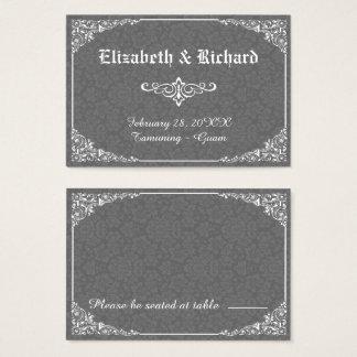 Tarjeta gótica gris del lugar del boda del damasco
