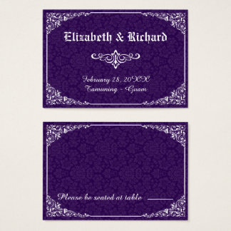 Tarjeta gótica púrpura del lugar del boda del
