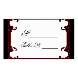 Tarjeta gótica roja elegante del lugar del boda de tarjeta de visita