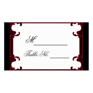 Tarjeta gótica roja elegante del lugar del boda tarjetas de visita