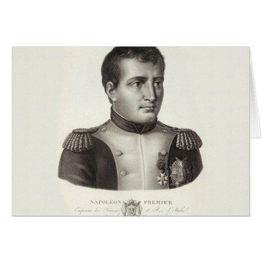 Tarjeta Grabado antiguo elegante de Napoleon Bonaparte