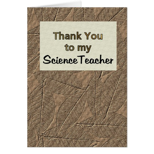 Tarjeta Gracias a mi profesor de ciencias