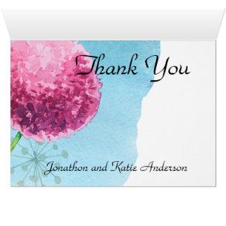Tarjeta Gracias allium de la acuarela floral