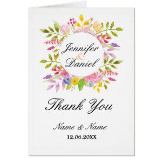 Tarjeta Gracias carda rosa floral de la guirnalda de la