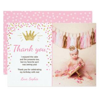 Tarjeta Gracias cardar a princesa Birthday Gold Pink