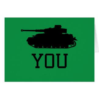 Tarjeta Gracias cardar - diseño del tanque divertido