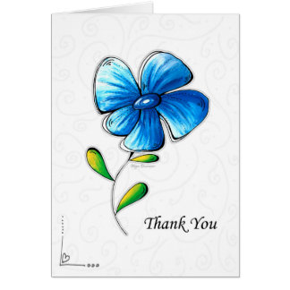 Tarjeta Gracias cardar diseño floral azul simple hermoso