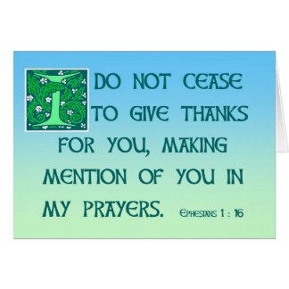 Tarjeta Gracias cardar el 1:16 de Ephesians
