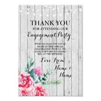 Tarjeta Gracias cardar floral rojo de madera del boda del