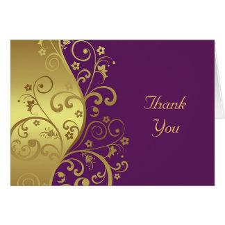 Tarjeta Gracias cardar--Remolinos del oro y violeta roja