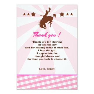 Tarjeta Gracias cardar rosa de la vaquera del rodeo del