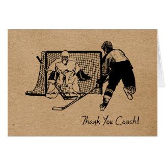 Tarjeta ¡Gracias coche de hockey! Carde el bosquejo de la