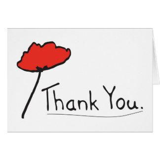 Tarjeta Gracias con la flor roja de la amapola