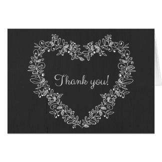 Tarjeta Gracias corazón floral