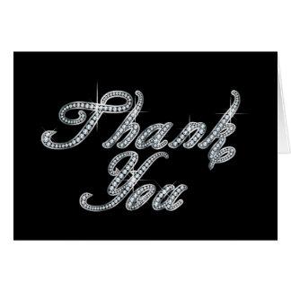 Tarjeta Gracias en la escritura de Bling del